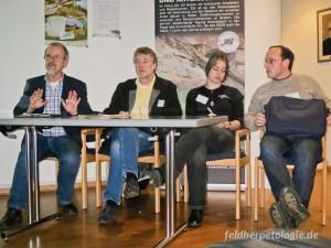 Derzeitiger AG-Vorstand; von links: R. Podloucky, A. Geiger, D. Dick, D. Alfermann