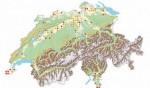 Verbreitung der Europäischen Sumpfschildkröte in der Schweiz auf der Basis von 25 km²-Quadranten: Gelbe Punkte = Nachweise vor 2005, rote Punkte = Nachweise seit 2005 (Quelle: karch, Schweiz). Fast alle Beobachtungen dürften auf entwichene oder freigesetz te Individuen zurückgehen.