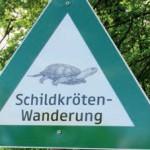 Hinweisschild zum Schutz der Tiere vor dem Überfahrenwerden bei der Querung von Straßen; Foto: Nationalpark Donau-Auen