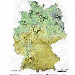 Verbreitung von Emys orbicularis in Deutschland. Einzelfunde von 1900–1914; grau hinterlegt ist das rezente Areal, rot sind die Landeshauptstädte