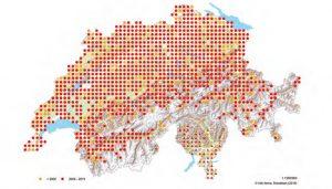 Verbreitung der Blindscheiche in der Schweiz und in Liechtenstein auf der Basis von 25-km²-Quadranten. Zahlreiche nach 2000 nicht mehr bestätigte Quadranten dürften auf fehlende Kartierungsaktivität zurückzuführen sein.